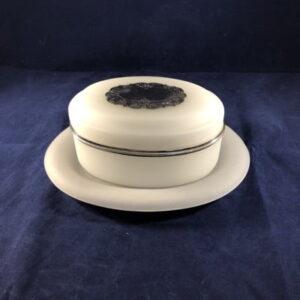 opaline glas koekdoos met zilveren beslag